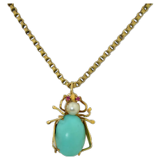 Retro 14K Turquoise Ruby & Pearl Spider Insect Pendant Brooch