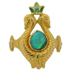 On hold until 11/25    18K French Art Nouveau  Opal Enamel & Pearl Peacock Ring