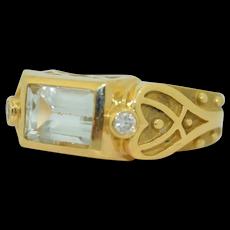 Charles Turi 18K Aquamarine & Diamond Ring
