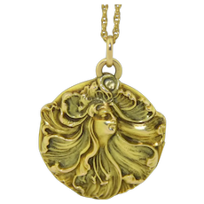 14k Art Nouveau Maiden Locket
