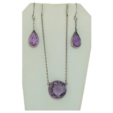 Antique Sterling Silver Amethyst Necklace & Earring Suite Set