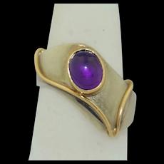 14K & Sterling Silver Modernist Amethyst Ring