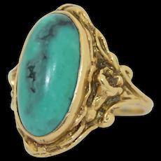 14K Art Nouveau Turquoise Ring