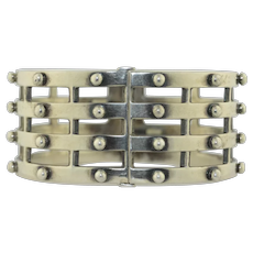 Vintage Sterling Silver Wide Cuff Bracelet by Briones, Mexico TB-113