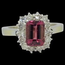 Stunning 14K White Gold Pink Tourmaline & Diamond Halo Ring