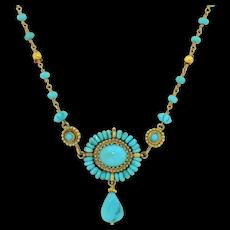 Stunning AA Turquoise 21 Karat Yellow Gold Necklace 21K
