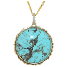 Large 14K Natural Turquoise and Diamond Round Pendant