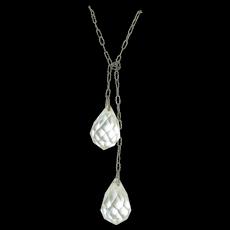 Art Deco Sterling Silver & Rock Quartz Crystal Flapper Necklace