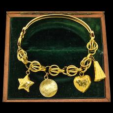 21K Turkish Yellow Gold Charm Bracelet 21ct 21KT