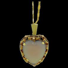 Retro 14K Chalcedony Love Heart Pendant