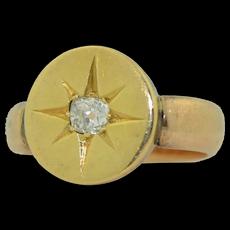 Victorian 14K & 18K Mine Cut Diamond Ring