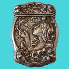 Lovely Art Nouveau Smoking Lady Match Safe