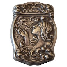 Lovely Art Nouveau Smoking Lady Match Safe