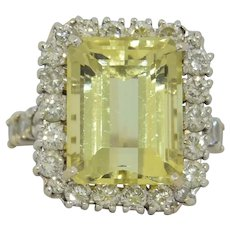 Spectacular 12.25 CT Golden Beryl & Diamond Halo Ring