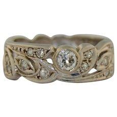 Edwardian Platinum Diamond eternity ring Wedding Ring SZ 10 US