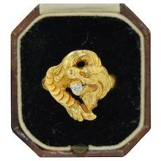 18K Art Nouveau Dragon & Diamond Ring