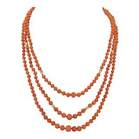 Triple Strand Graduated Natural Salmon Coral Necklace