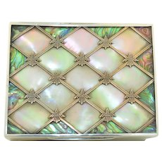 Victorian Sterling Silver Mother of Pearl & Abalone Fleur de Lis Box