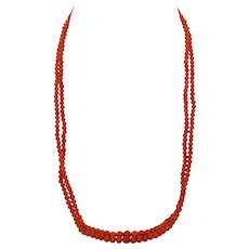 """22"""" Double Strand Natural Red Mediterranean Coral"""