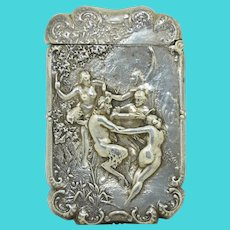 Sterling Silver Faun Fertility Scene Match Box Vesta Case