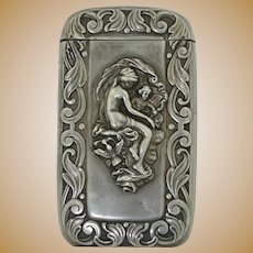 Art Nouveau Sterling Silver Match Safe Vesta Box
