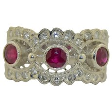 18K White Gold Diamond & Ruby Ring Wide 10.5 mm Stacking Band