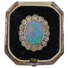 Antique French 18K Boulder Opal & Rose Cut Diamond Halo Ring