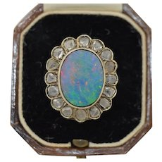 French 18K Boulder Opal & Rose Cut Diamond Halo Ring