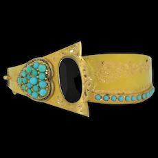 Antique 15K Turquoise & Diamond Bracelet