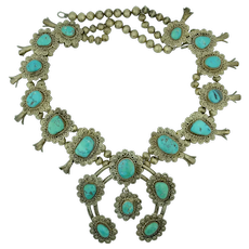 Native American Sterling Silver & Turquoise Navajo Squash Blossom Necklace