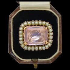 Victorian 14K Foil Backed Kunzite  & Pearl Ring