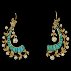Belle Epoque 18K Turquoise Rose Cut Diamond & Pearl Earrings