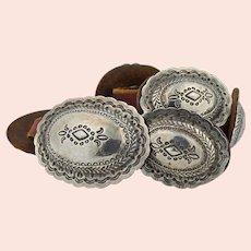 Navajo Ingot 999 Silver Hand Wrought Concho Belt 1889