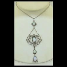 Art Nouveau Opal 14K - 800 Silver Large Necklace