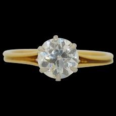 1.10 Carat Old European Cut Diamond Solitaire Engagement wedding Ring 18K & Platinum