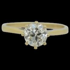 1 Carat Old European Cut Diamond Solitaire Ring 1900s Wedding Engagement