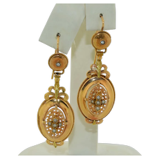 Victorian French 18K Yellow & Rose Gold Earrings with Seed Pearls