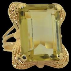 Retro 12 Carat Beryl - Heliodor 14K Yellow Gold Ring