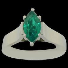 Fine Platinum & 18K Marquise Cut Imperial Jade Solitaire Ring