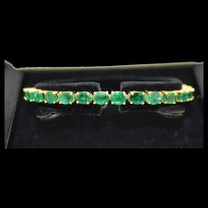 14K Yellow Gold Emerald Tennis Bracelet 10.8 CTW