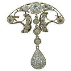 Antique Platinum & 14K Diamond Pin Pendant