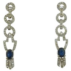 Fabulous 14K Diamond and Sapphire Articulated Earrings