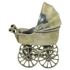 Dutch Silver Post 1953 Baby Buggy Stroller Miniature Oversized Charm