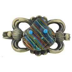 Native American Sterling Silver  & Rainbow Casillica Frog Cuff Bracelet