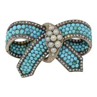 Victorian 14K & Sterling Silver Turquoise and Pearl Brooch