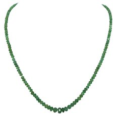 Natural Graduated Emerald Necklace 14K Clasp