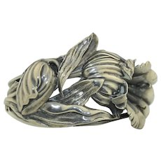 Art Nouveau Sterling Silver Floral Cuff Bracelet