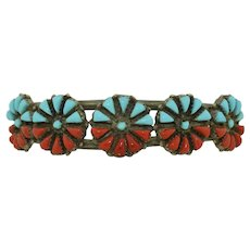 Flashy Zuni Turquoise and Red Coral Sterling Silver Bracelet cuff
