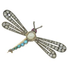 French Victorian 18K Mine Cut Diamonds Turquoise & Ruby Dragonfly Brooch