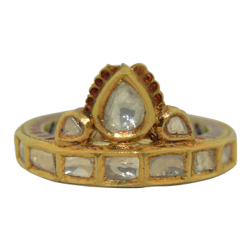 22K Diamond Kundan Meenakari Enamel Eternity Ring